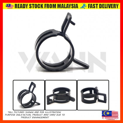 Black Spring Hose Clip Band Type Hose Tube Tubing Clamp Oil Water Parts Zinc Plating (M22 - M37)