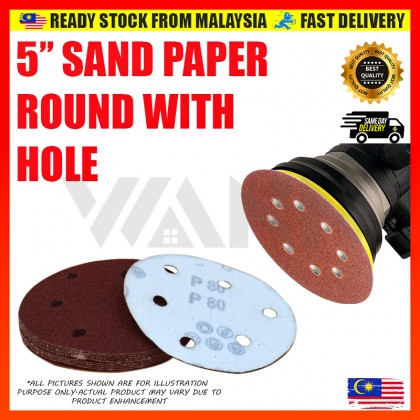 """5"""" (125MM) Grit Red Abrasive Sand Paper Round Velcro Grip Disc Polishing Pad With Hole"""