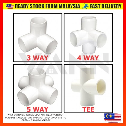"""READY STOCK 1/2"""" (15MM) Furniture Grade PVC Pipe Fitting Joint Elbow Connector Cross DIY Art 3 4 5 Way"""