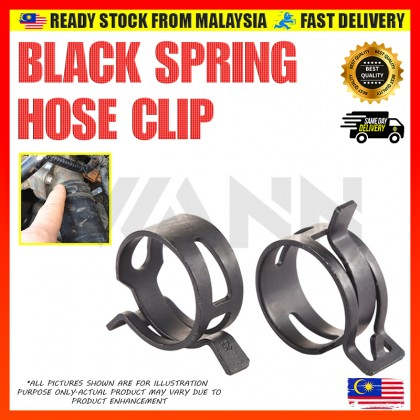 Black Spring Hose Clip Band Type Hose Tube Tubing Clamp Oil Water Parts Zinc Plating (M4.5 - M18)
